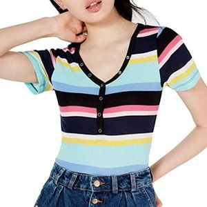 Planet Gold Multicolor striped V-Neck Short sleeve